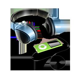 by, headphones icon