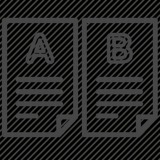 a/b testing, comparing, documents, method, split testing, test icon