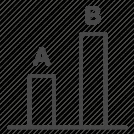 a/b testing, comparing, results, split testing, test icon
