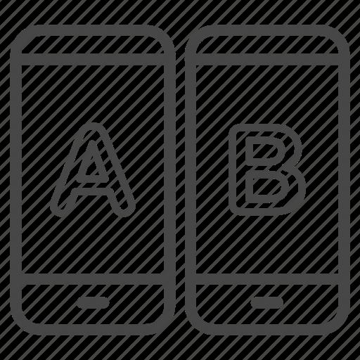 a/b testing, app, comparing, mobile, split testing, test icon