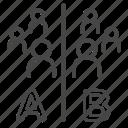 ab testing, comparing, method, persona, split testing, test, tester icon