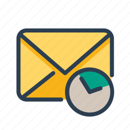clock, communication, email, mail, message, reminder, time icon