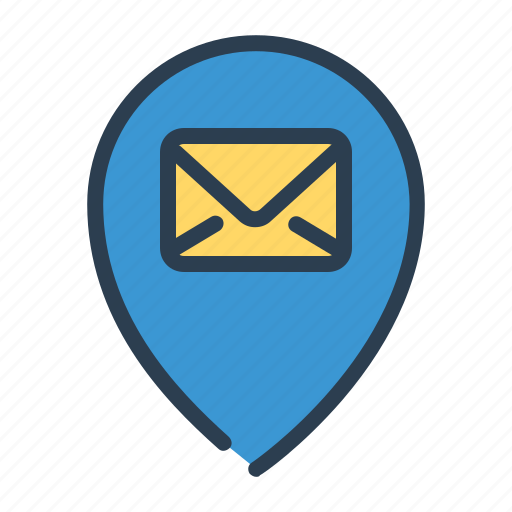 email, location, pin, pointer, post office icon
