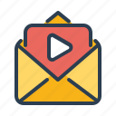 advertising, email, envelope, marketing, message, play, video icon