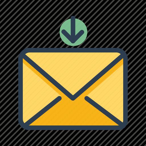 arrow down, email, envelope, recieve icon