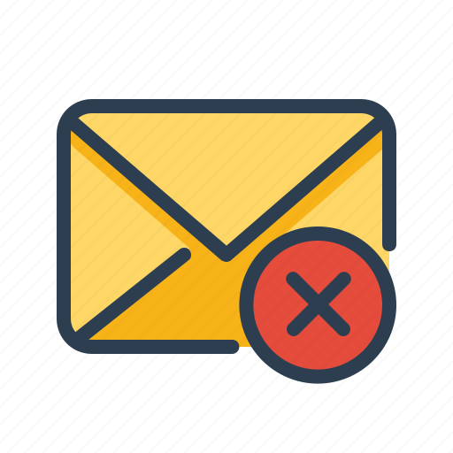 cancel, delete, email, envelope, letter, mail, remove icon