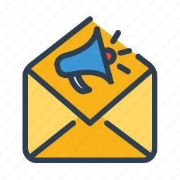 email, envelope, letter, mail, marketing, megaphone, promotion icon
