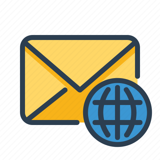Language, globe, international, email icon