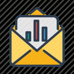 analytics, diagram, email, mail, sales report, sea report, statistics icon