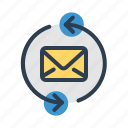 email, envelope, refresh, sync icon