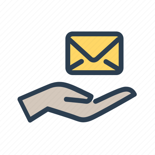 email, envelope, hand, mail, message, support, tale care icon