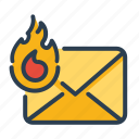 fire, hot, top priority, email