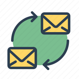 communication, conversation, cycle, email, envelope, letters, mail icon