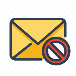block, cancel, email, forbidden, letter, mail, spam icon