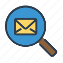 email, envelope, explore, letter, magnifier, mail, search icon
