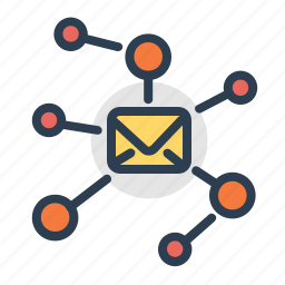 connections, email, envelope, hierachy, mail, network, structure icon