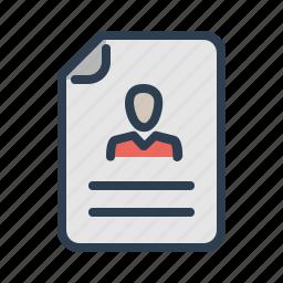 curriculum, cv, document, file, portfolio, profile, resume icon