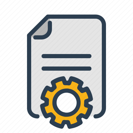 article, content management, copywriting, development, document, file, gear icon