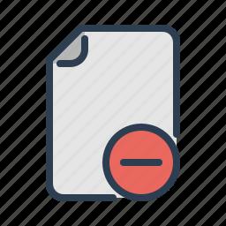 delete, document, edit, file, minus, page, remove icon