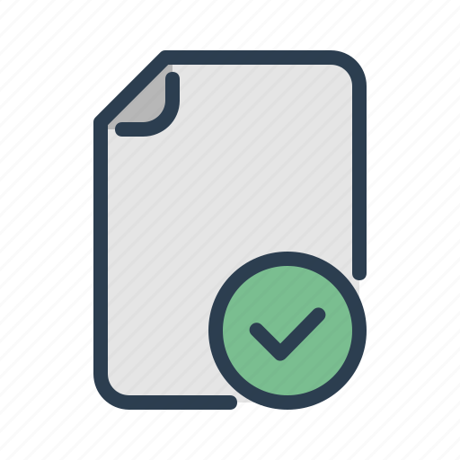 approved, checkmark, complete, document, done, file, page icon