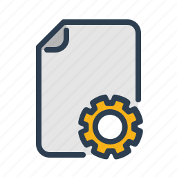 document, file, format, gear, options, page, setting icon