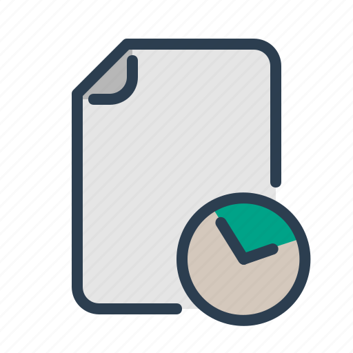 clock, document, file, page, planning, time management, watch icon