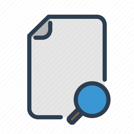 document, explore, file, format, magnifier, page, search icon