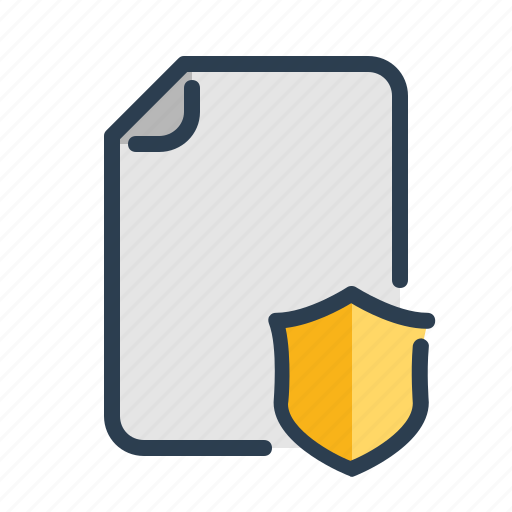 document, file, page, protect, safe, shield, trusted icon