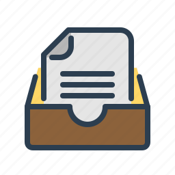 archieve, document, drawer, file, folder, page, text icon