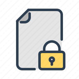 file, lock, locked, page, protected, secure, security icon