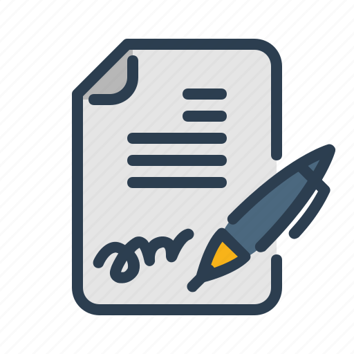 agreement, contract, document, file, pen, signature, signed icon
