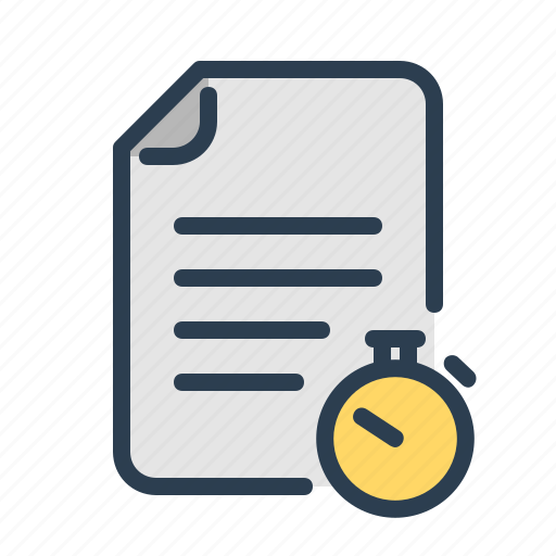 document, entry, file, records, stopwatch, timer, training icon