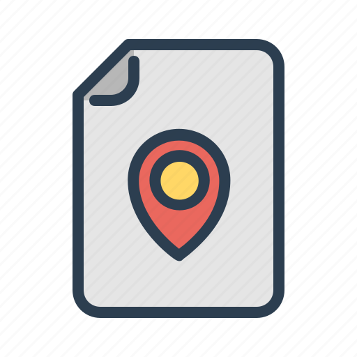 document, file, location, map, marker, navigation, pin icon