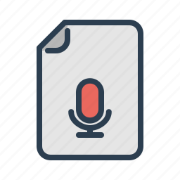 audio, document, file, microphone, mp3, record, voice icon