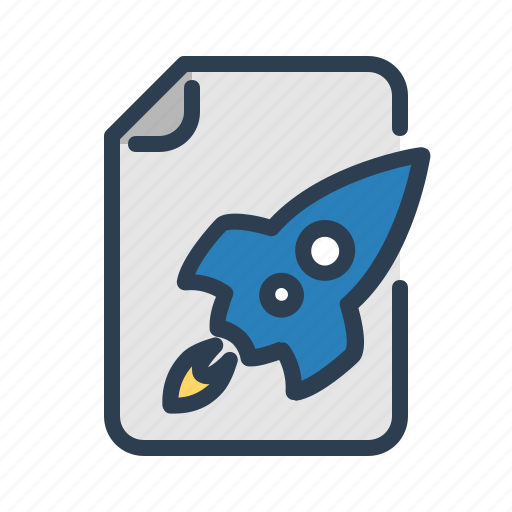 document, file, plan, project, rocket, spaceship, startup icon