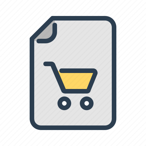 bad, cart, document, file, sales, shop, shopping list icon