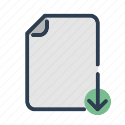 arrow, document, down, download, file, save, share icon