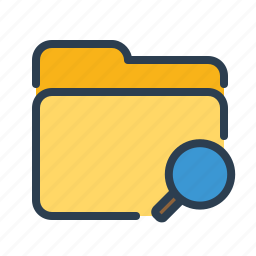 categorized, documents, explore, find, folder, magnifier, search icon