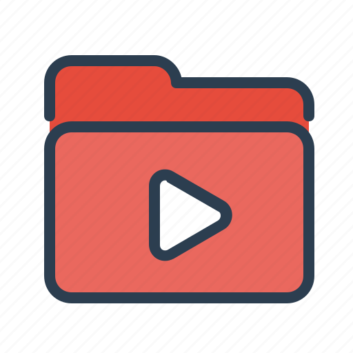 documents, files, film, folder, movie, storage, video icon