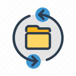 arrows, documents, files, folder, refresh, storage, sync icon