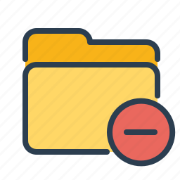 close, delete, documents, files, folder, minus, remove icon