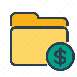 documents, dollar, files, folder, income, sales report, storage icon