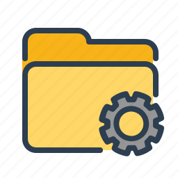 documents, files, folder, gear, options, settings, storage icon