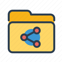 archieve, connection, distribute, folder, network, share, shared folder icon