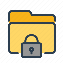 documents, folder, lock, locked, private, secure, security icon