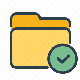 approved, checkmark, documents, done, files, folder, storage icon