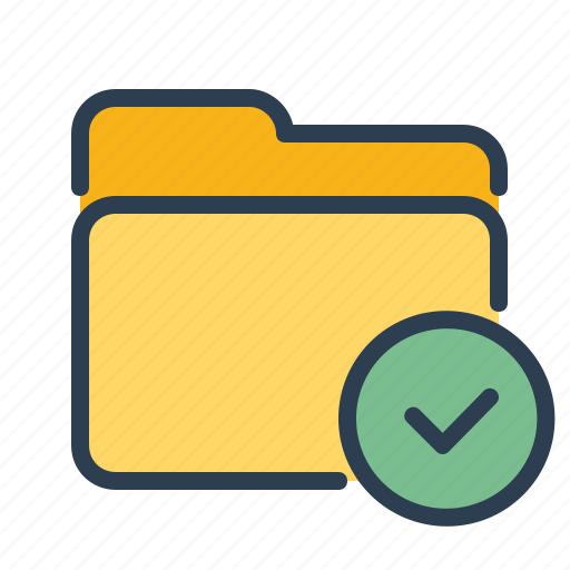 approved, checkmark, folder, storage icon