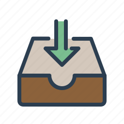 arrow down, documents, download, files, folder, share, storage icon
