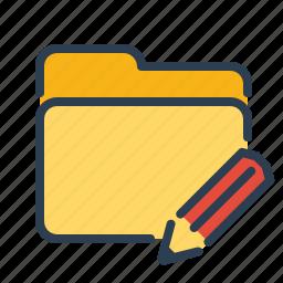 change, directory, edit, folder, pencil, rename, write icon
