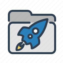 documentation, folder, games, project, rocket, spaceship, startup icon
